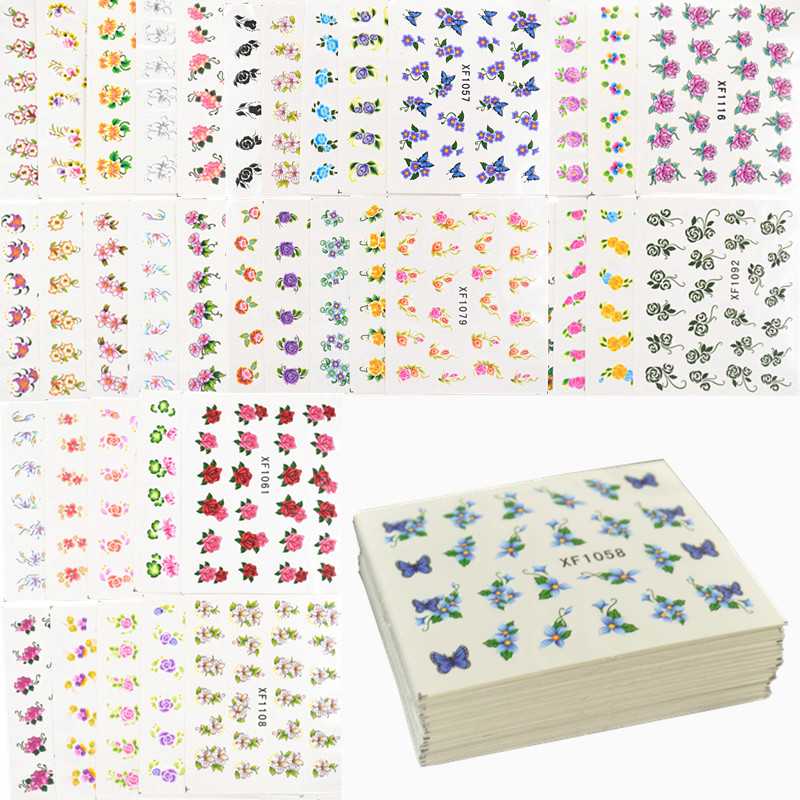 60 Sheets Flowers Designs Water Transfer Nail Sticker, Watermark Nail Stickers Temporary Tattoos Manicure Beauty Tools(China (Mainland))