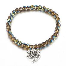 LOVBEAFAS moda kryształowe bransoletki z koralików dla kobiet z sercem urok drzewo życia DIY elastyczne bransoletki bransoletki biżuteria prezent(China)