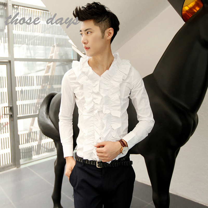 Ruffle Shirt Mens Men Elegant Ruffle Shirt