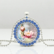 Buy 2017 New Lotus Flower Necklace Yoga Lotus Pendant Pink Lotus Crystal Jewelry Silver Ball Chain Necklaces for $1.29 in AliExpress store