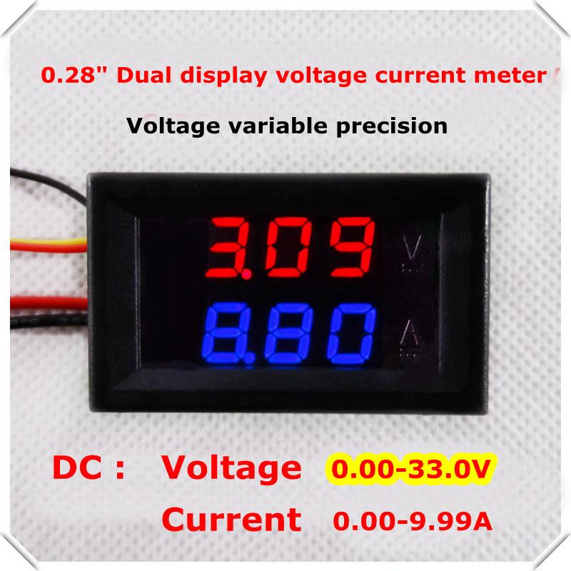RD new Car voltage current meter 0.28 Digital Ammeter Voltmeter DC 0.00-33.0V/10A dual LED Display color Red+Blue[4 pcs/lot](China (Mainland))