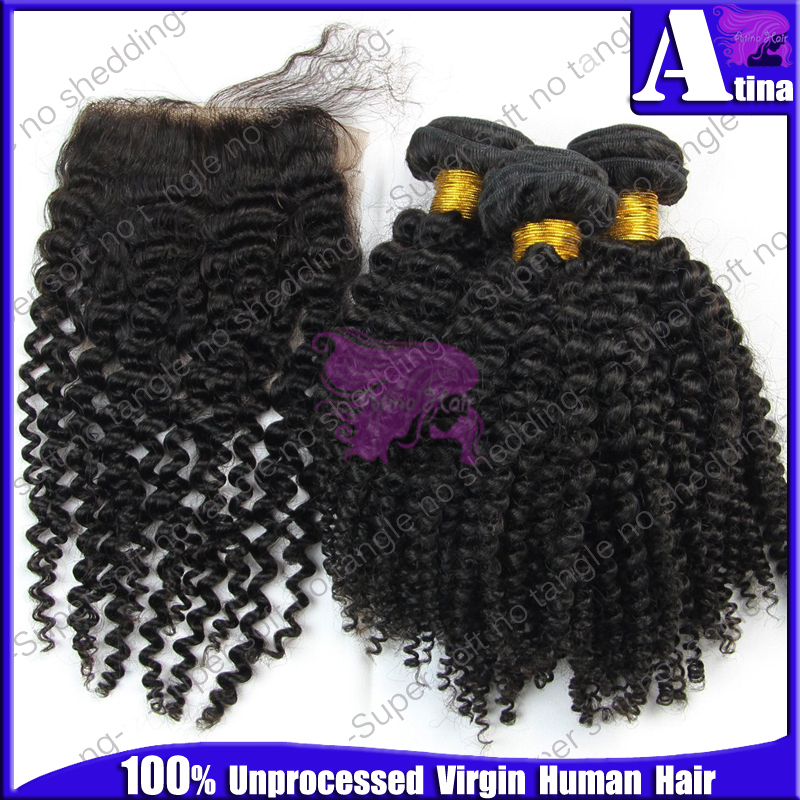 Mongolian kinky curly virgin hair with closure,3 bundles with closure,7A Unprocessed afro kinky curly lace closure with bundles(China (Mainland))