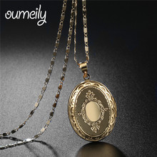 Buy OUMEILY European Style Locket Silver Gold Color Women Fashion Jewelry Vintage Pendant Necklace Picture Frame Accessories for $2.97 in AliExpress store