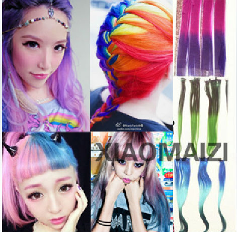 "FREE SHIPPING Rainbow super popular 8pcs/lot 20"" Multi-color Gradient Ombre Style clip in Hair Extension"