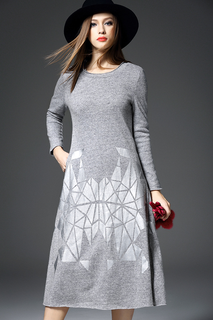 Free Shipping 2015 Autumn Wear New Style Women 39 S Clothing Print Wool Cloth Dress H02247 In