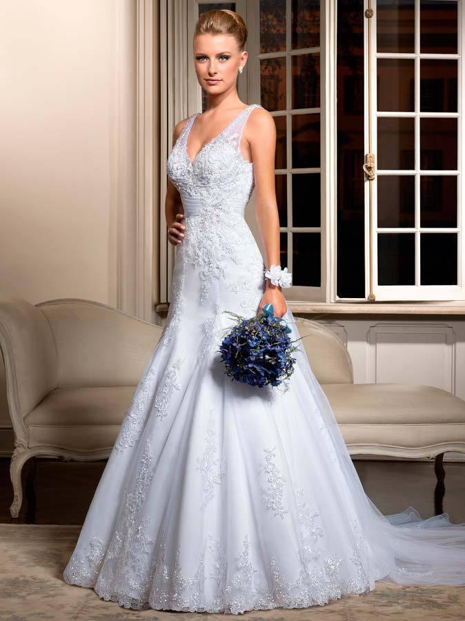 Высокое качество белого тюля свадебное платье v-образным вырезом русалка аппликации длиной суд поезд спинки свадебные платья