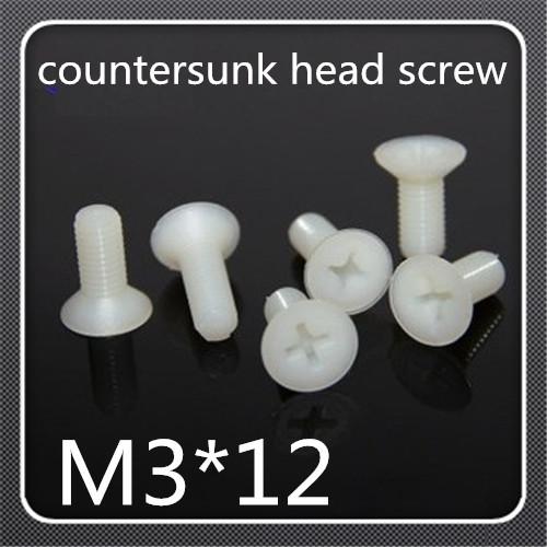 500pcs/lot  M3*12  Nylon Plastic insulation Phillips Cross Recessed Flat Countersunk Head Machine Screw<br><br>Aliexpress