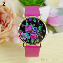 Women's Rose Flower Dial Faux Leather Strap Quartz Analog Casual Wrist Watch 01LB