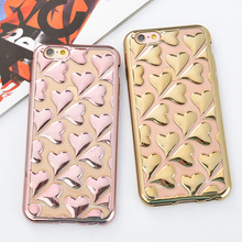 Hot! 2016 New Arrival Electroplating Love Heart Soft TPU Mobile Phone Back Cover For iPhone 6 6s 6Plus Fashion Phone Case capa