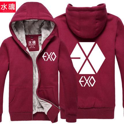Fashion Winter Swaetshirt exo Letter Print Hoodies Women Moleton Feminino Men Jacket Baseball Jacket(China (Mainland))