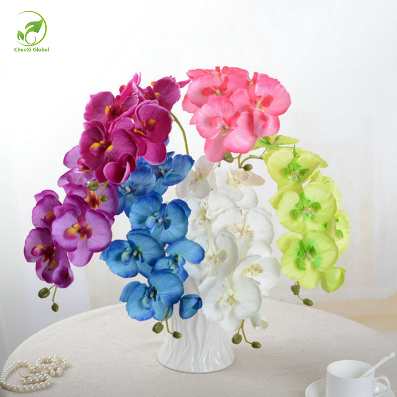 Fashion Orchid Artificial Flowers DIY Artificial Butterfly Orchid Silk Flower Bouquet Phalaenopsis Wedding Home Decoration(China (Mainland))