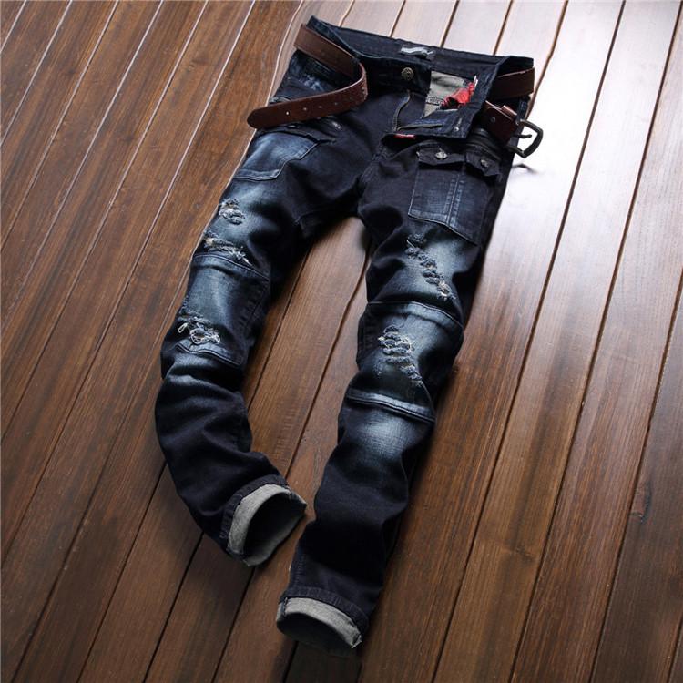 Скидки на Мужская мода карманные отверстие рваные джинсы Повседневная лоскутная тонкий прямой темно-синие джинсовые брюки Длинные брюки мода одежда TE019