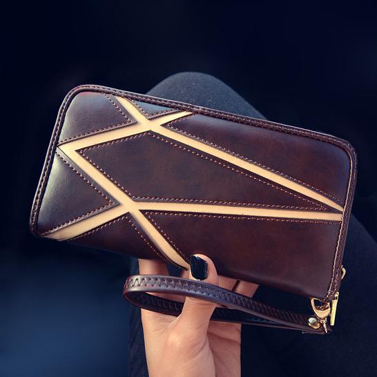 Geometric Patchwork  Womens Leather Wallets Fashion Money Clips Panelled Black Brown Ladys Long Purse Wristlet Clutch Wallets<br><br>Aliexpress