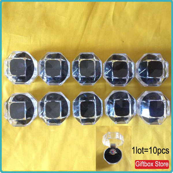 10pcs/lot Cheap Ring Jewelry Packing Clear Gift Boxes With Black Foam Inside Cheap Price(China (Mainland))