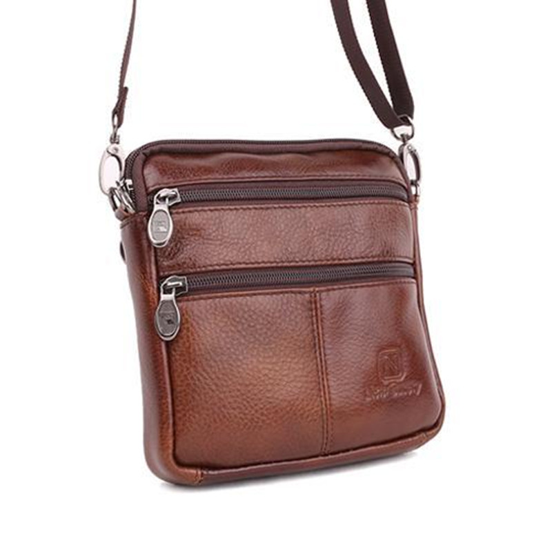Vintage Famous Brand 100% Guarantee Real Cowskin men shoulder crossbody bags Fashion Double zipper design men messenger bags(China (Mainland))