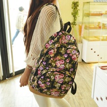 Vintage Retro Rose Floral Printing Backpack Women's Canvas Travel Backpack for Teenage Girls Rucksack(China (Mainland))