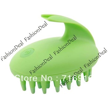 2013 New Fashion Vibrating Shampoo Massage Comb Rabbit Brush Electric Hair Scalp Comb Green 12429