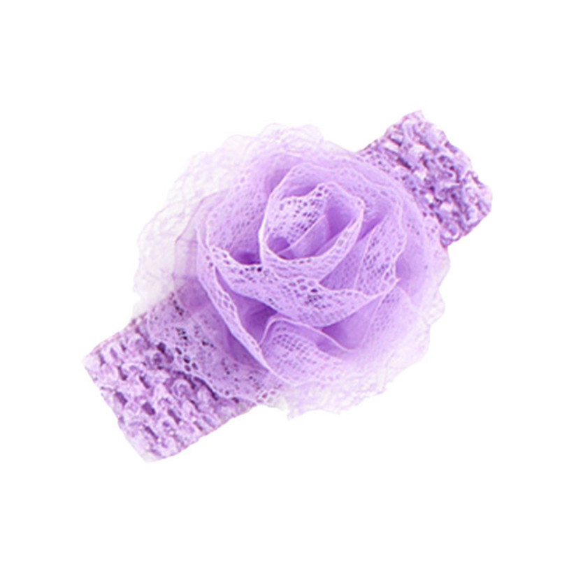 Hot Infant Baby Girls Flower Headband Rose Lace Elastic Hair Band Accessories For Kids Birthday party Drop Shipping H10(China (Mainland))