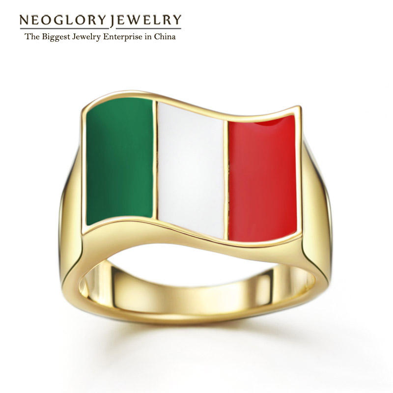 Neoglory 14K Gold Plated Zinc Alloy Stoving Varnish Italy Flag Sporty Rings for Women Men Casual Jewelry 2016 New Arrival CLE(China (Mainland))