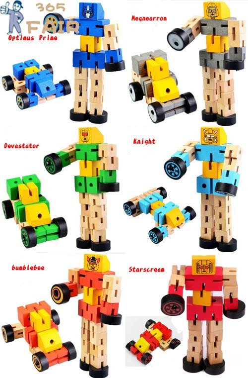 New 6 styles/lot wood Trans-Formers robot wooden Model Building robot educational toys P3<br><br>Aliexpress