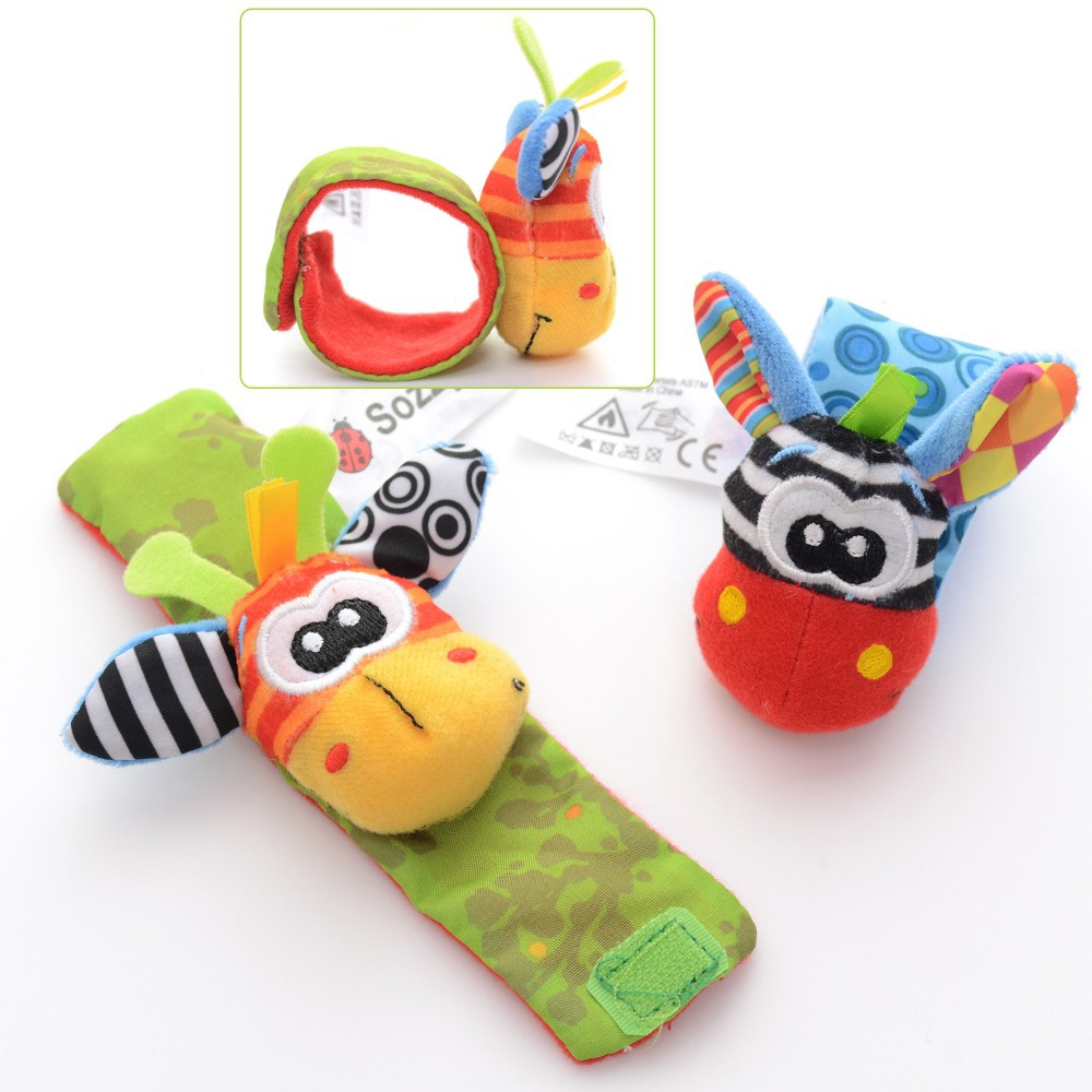Cartoon Baby Rattles Toys Animal Wrist Strap Rattle Bracelet Dolls Developmental Gifts 6'' - Heaven of store