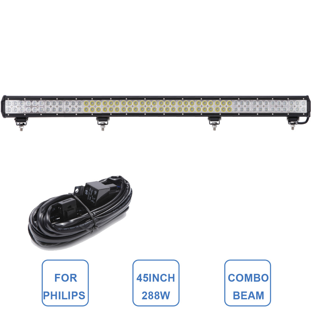 45 Inch For Philips 288W Offroad LED Light Bar 12V 24V Car Truck SUV Boat Trailer Wagon 4WD 4X4 Bumper Roof Fog Lamp Headlight(China (Mainland))