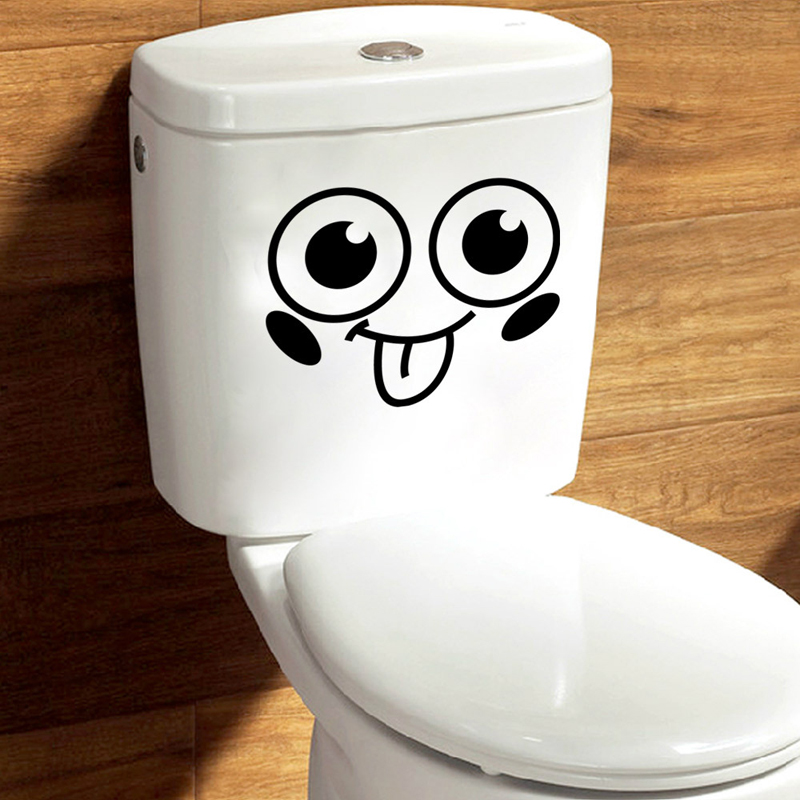 Big eyes 3d toilet stickers wc wall decoration diy vinyl for Decoration wc