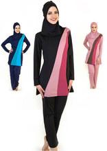 Full Cover Up Womens Modest Muslim Swimwear Girls Conservative Long Sleeve Islamic Swimsuit 3 Pcs Bathing Suit Size S-4XL(China (Mainland))