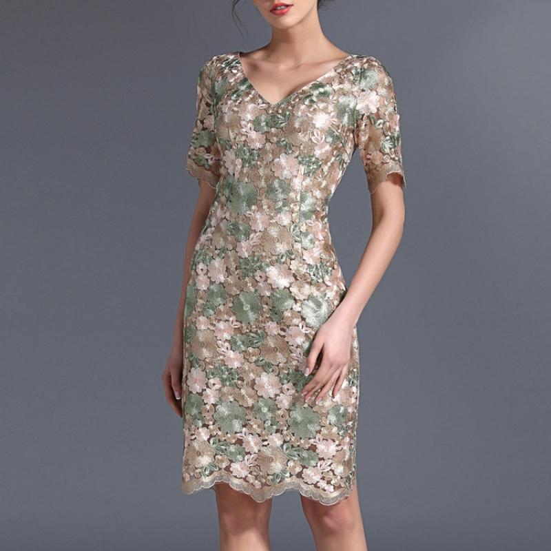 women summer dress plus size dress 2015 new fashion high-quality soluble flowers Duolei Si women's dress vestidos de verano