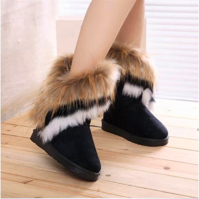 winter warm high long snow boots artificial fox rabbit fur leather tassel girls women's shoes botas feminina NEW fashion B102(China (Mainland))