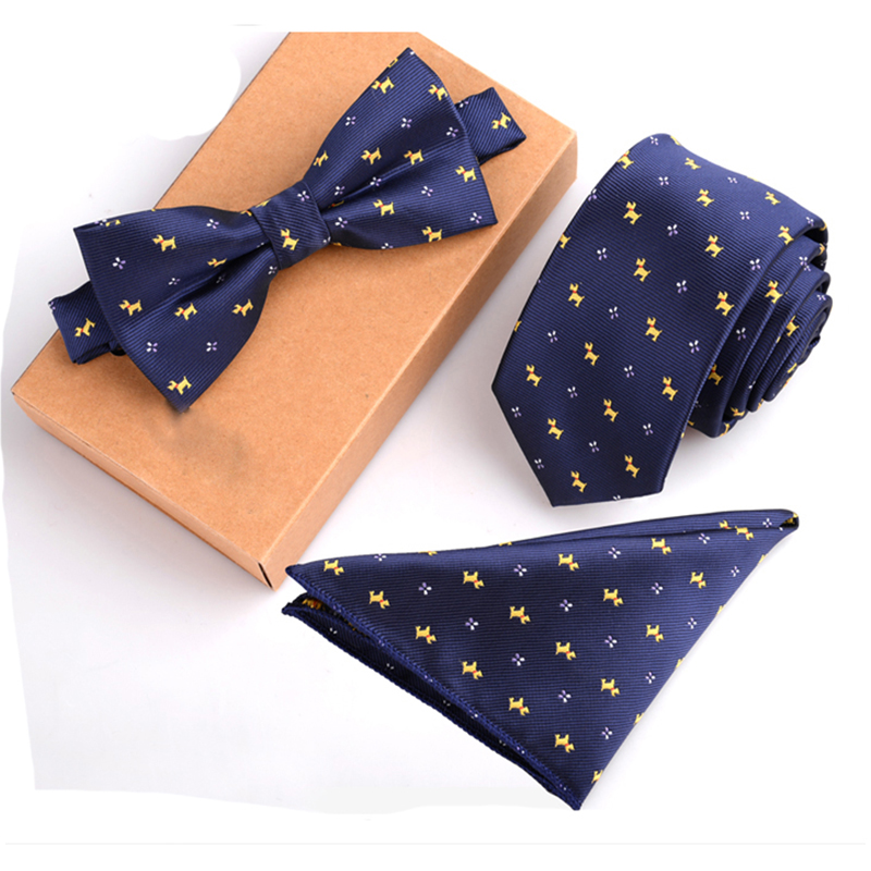 2016 Fashion 6cm Slim Dot Polyester Silk Neck Ties & Handkerchief & Bow Tie Set Wedding Pocket Square Towel Bowtie Men Tie Set(China (Mainland))