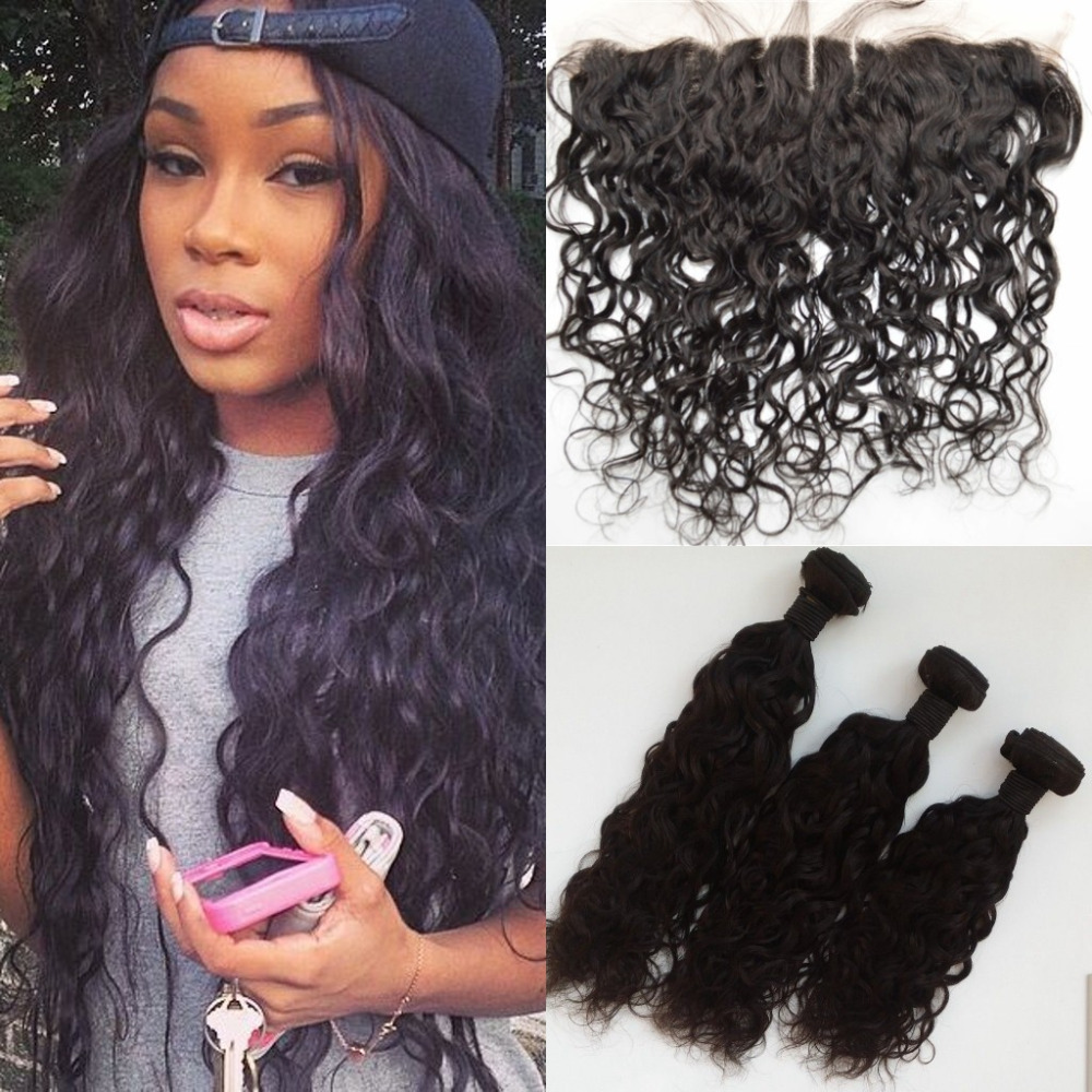 Ear to ear lace frontal closure with bundles,virgin brazilian water wave hair weave,13x4 full lace frontal with hair weft<br><br>Aliexpress