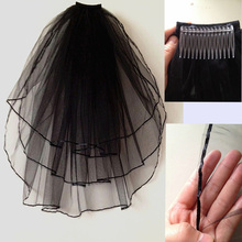 New Arrival Short Bridal Veils Tulle Custom Made Elbow Length Black Wedding Veils Spring Style Bridal Accessories 2016(China (Mainland))