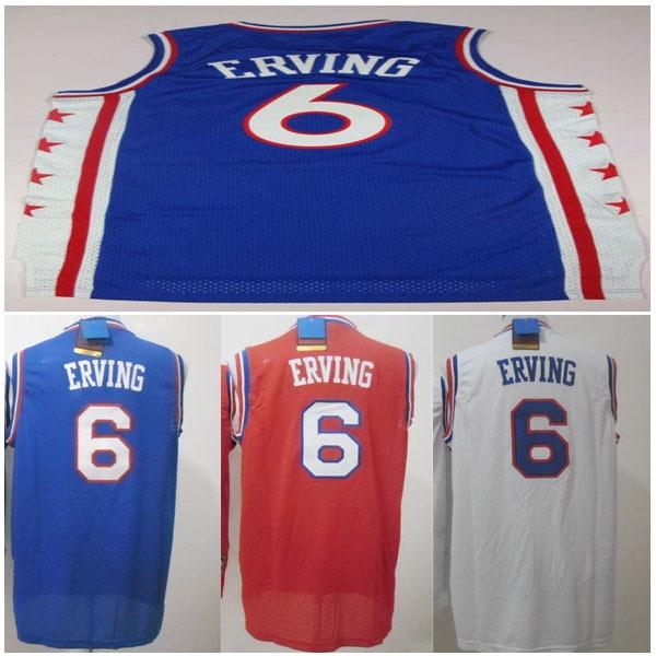 Free shipping # 6 Julius Erving Jersey Rev 30 Embroidery Logos Erving Basketball Jersey Fishnet Basketball vest(China (Mainland))