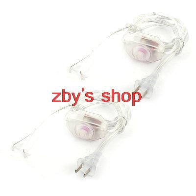 2 x Lamp Power Cord Swivel Dimmer Switch AC 250V/110V Clear US Plug 1.8M(China (Mainland))