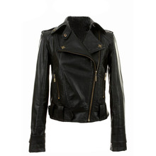 New Free Shipping Womens Short Bomber Outerwear Biker Jacket Coat Leather New Black Lady Outwear(China (Mainland))