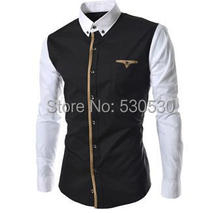 Men's 2014 spring new casual shirt Slim 2color stitching sleeve design long-sleeved shirt clothing man
