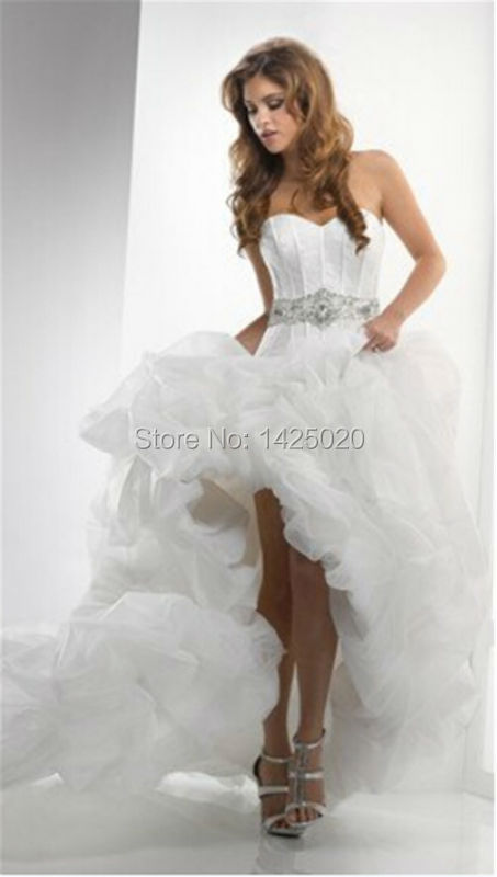 IN STOCK US SIZE 2/4/6/8/10/12/14/16 Promotion Cheap 50% Discount Free Shipping Front Short Back Long Bridal Wedding Dress W0025(China (Mainland))