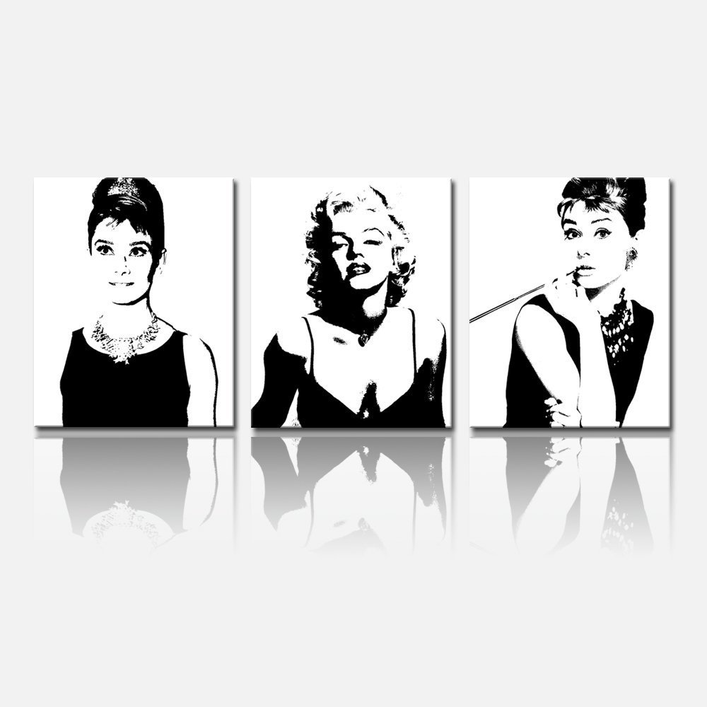 """FREE SHIPPING Forever Audrey Hepburn and Marilyn Monroe Paintings Art Poster Wall Decal,Framed and Ready To Hang,16""""x20""""x3pcs(China (Mainland))"""