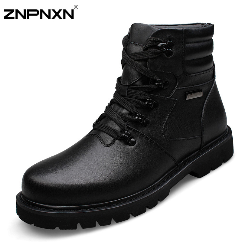 2015 New Big Size 48 Genuine Leather Winter Boots Men Snow Ankle Boots For Men Shoes Black Cowboy Boots Botas Masculina<br><br>Aliexpress