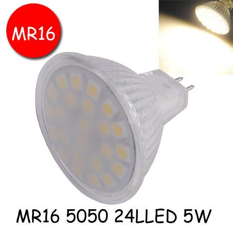 [해외]주도 램프 MR16 5050 24 LED 220V 5W LED 전구 / 220V 스포..