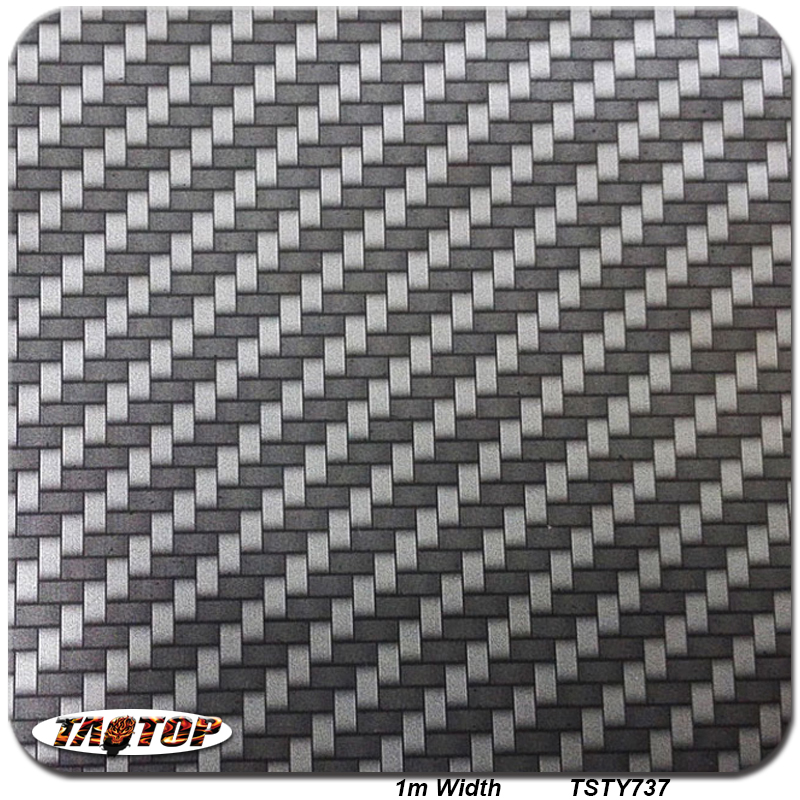 TSTY737A Black and Silver Carbon Fiber Pattern 1M*10M Water Transfer Printing Film Hydrographic Films(China (Mainland))