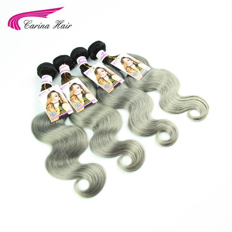 1B Grey Carina Hair Virgin Brazilian Ombre Hair Body Wave Two Tone 1b/Grey Ombre Hair Extensions 4Pcs Brazilian Virgin Hair<br>