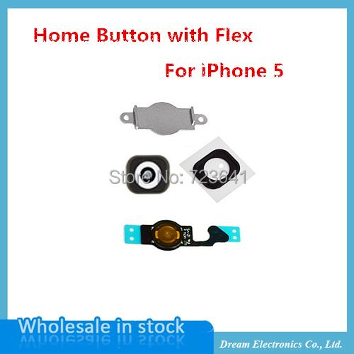 10sets/lot NEW Home Menu Button Key Cap sticker + Flex Cable + Bracket Holder rubber for iPhone 5 5g Home Button Set Black/White(China (Mainland))