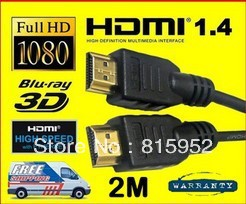 10PCS/LOT Factory wholesale 2M High Quality HDMI Cable Full HD HDTV Ethernet PS3 xBox360 BluRay 1080p k4a(China (Mainland))