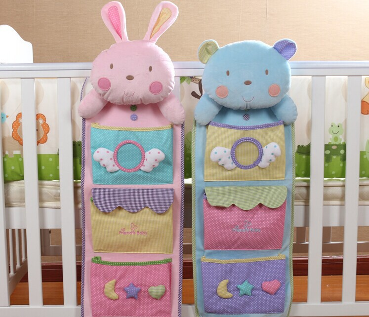 2014 new comming diaper bag for saving baby stuff 75*25cm blue bear and pink rabbit 2 patterns for option baby bedding organizer(China (Mainland))