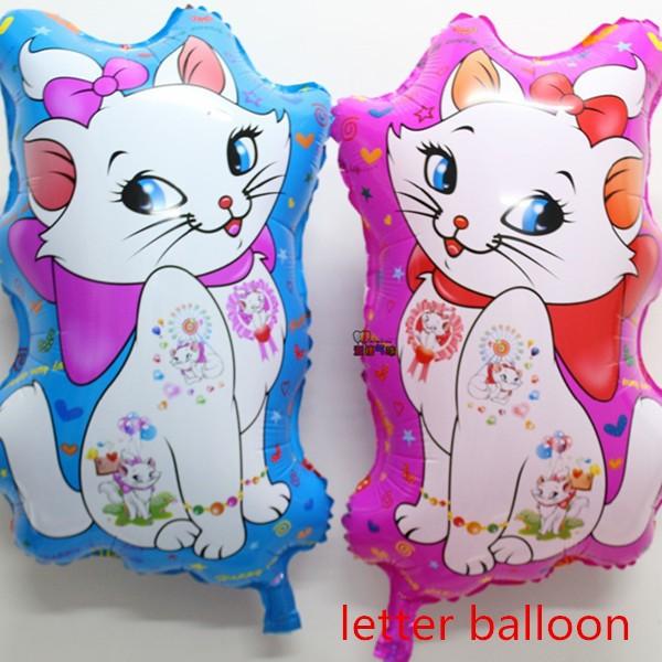NEW!!! 50pcs/lot 39*64cm Mary cat aluminium foil balloons animal shape balloon helium balloon party decoration Marie cat globos(China (Mainland))