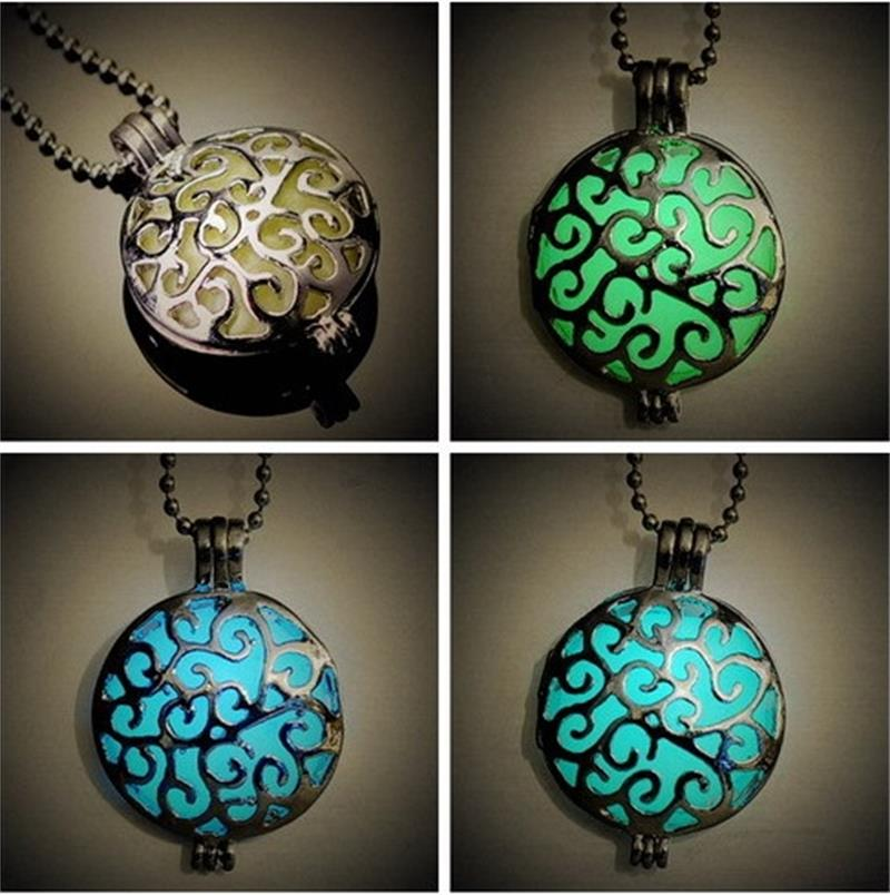 Round Leaf Glow in Dark Hollow Box Chain Pendants Choker Necklace Party Sandal(China (Mainland))