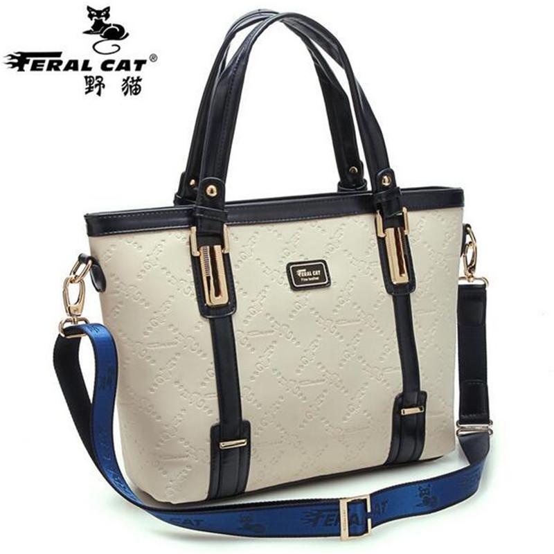2016 FERAL CAT Brand High Quality Printing Woman Handbag PU Simple High-Capacity Fashion Woman Shoulder Bags Women Famous Brands(China (Mainland))