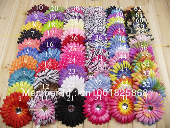 """WHOLESALE LOT BEAUTIFUL 100PC 4"""" 62 COLORS NEWBORN GERBER DAISY  Flowers  Hair clip BABY GIRL FAST FREE SHIPPING TO U.S/U.K/ONLY"""